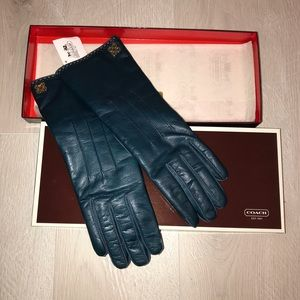 New‼️Coach genuine leather & cashmere lined gloves
